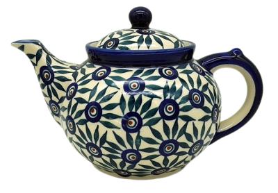 Bunzlauer Teekanne 1,2 L-C-017, Dekor Pfauenfeder - 2.Wahl