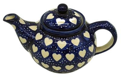 Bunzlauer Teekanne klein C-025, Dekor Herzen - 2.Wahl
