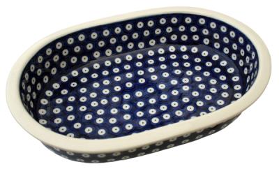 Bunzlauer Auflaufform oval 29 cm-P-169, Dekor Blauauge - 2.Wahl