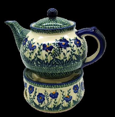 Set Bunzlauer Teekanne mit Stövchen Dekor Blaue Primel - 2.Wahl