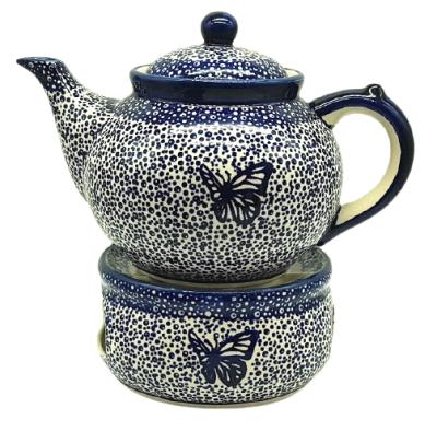 Set Bunzlauer Teekanne mit Stövchen Dekor Blauer Falter