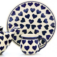 Polish Pottery design blue hearts