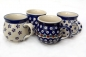 Preview: Polish Pottery set of 4 belly mugs in pattern polka, garland, bluespot and margerita