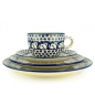 Preview: Polish Pottery set of breakfast plate 1, plate 2, cup and saucer garfield pattern