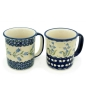 Preview: Bunzlauer Becher-Set Mars Blau-A-uge/Polka