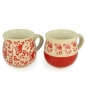 Preview: Bunzlauer Kugel-Becher-Set Viola Blau/Viola Rot