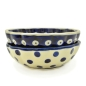 Preview: Polish Pottery Scallop Dish (s) - Pattern Bluespot and Polka