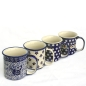 Preview: Polish Pottery set of 4 straight mugs different patterns