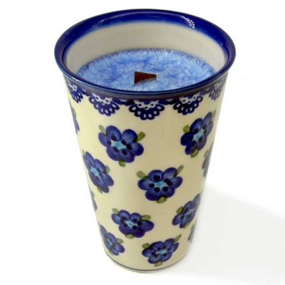 Polish Pottery Aroma Candle Orchdee, blue flower