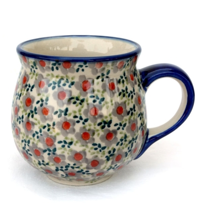Polish Pottery belly mug medium size, design violet-Bela