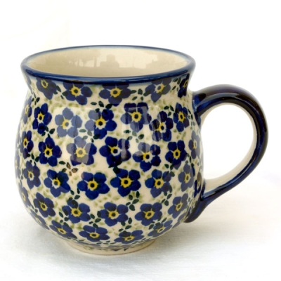 Polish Pottery belly mug medium size, design violet-blue