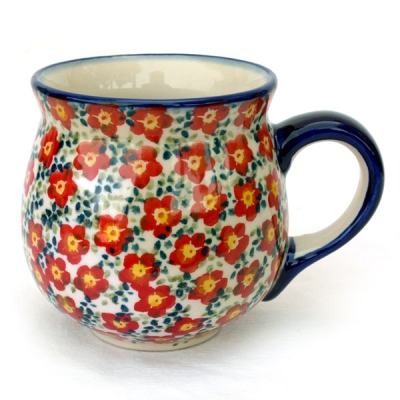Polish-Pottery-belly-mug-medium-violet-red-design