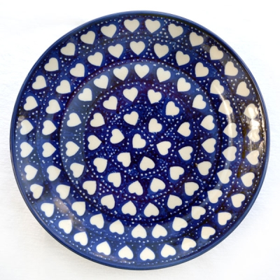 Polish Pottery Breakfast Plate - Pattern White Hearts