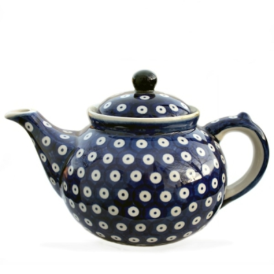 Polish Pottery Teapot for 6 cups bluespot design