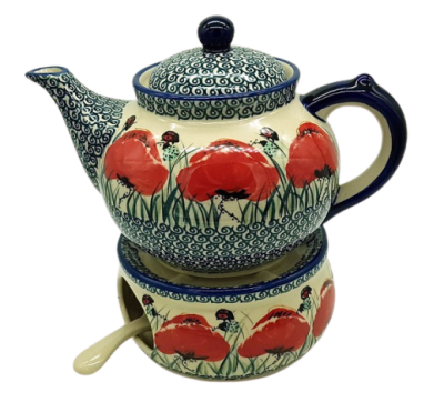 Polish Pottery Teapot for 6 cups with warmer, design Klatschmohn