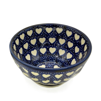 Polish Pottery Rice Bowl - Pattern Hearts