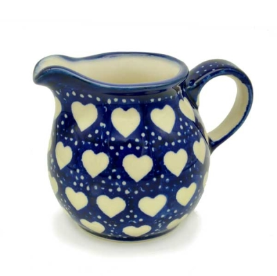 Polish Pottery Creamer - Pattern Love Hearts