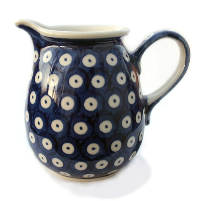 Polish Pottery jug one pint bluespot design