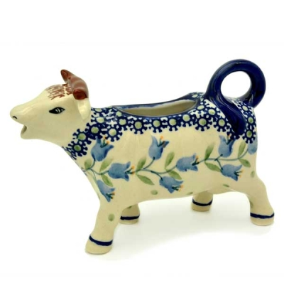 Polish Pottery Cow Creamer - Pattern Agnes