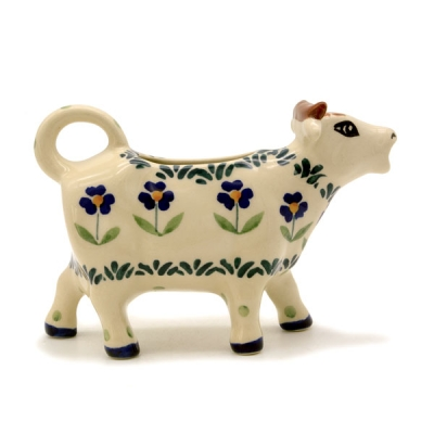 Polish Pottery Cow Creamer in Pattern Angelika