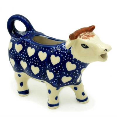 Polish Pottery Cow Creamer in Pattern Herzen