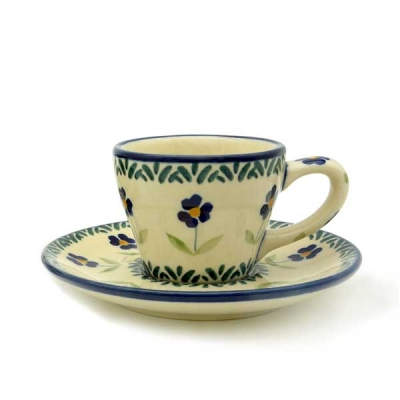 Polish Pottery Espresso Cup & Saucer Pattern Angelika