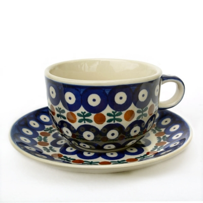 Polish Pottery cup and saucer garland design