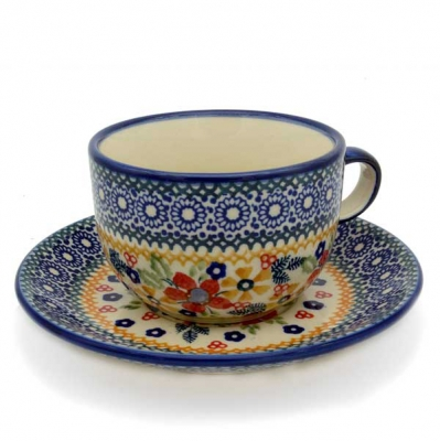 Polish Potter cup and saucer-Cornelia design - 2.Qual