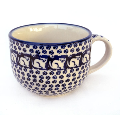 Polish Pottery Cafe Au Lait Cup Pattern Garfield