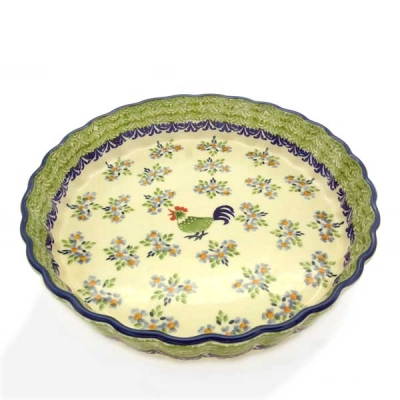 Polish Pottery pie dish medium size, Bianca design