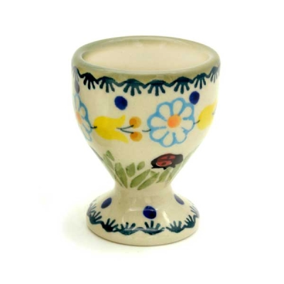 Polish Pottery Egg Cup - Pattern Ladybird