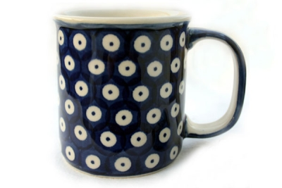 Polish Pottery Mug Straight Pattern Blue Spot