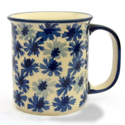Polish Pottery, straight mug for 220 ml, large handle, Jade design