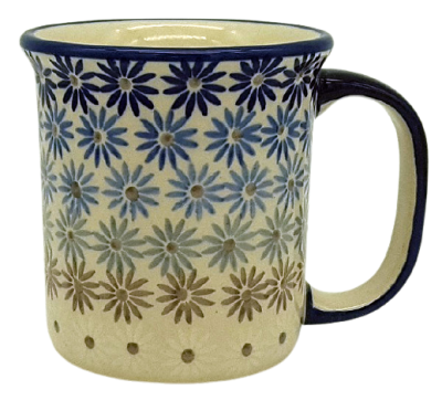Polish Pottery, straight mug for 220 ml, large handle, Aster design