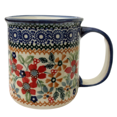 Polish Pottery, straight mug for 220 ml, large handle, Cornelia design