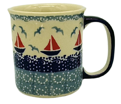 Polish Pottery Mug Straight - Pattern Sail