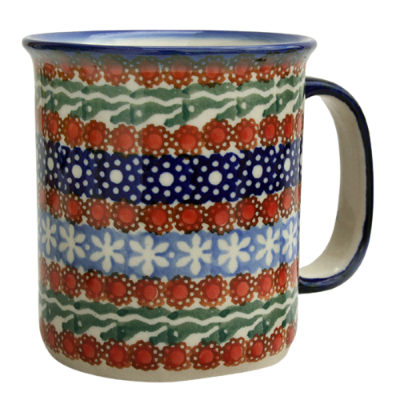 Polish Pottery Mug straight, pattern Sienna