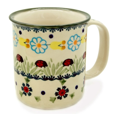 Polish Pottery Mug Straight - Pattern Marienkäfer