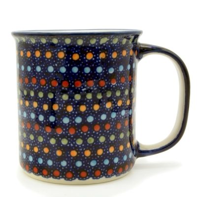 Polish Pottery, straight mug for 220 ml, large handle, Irena design