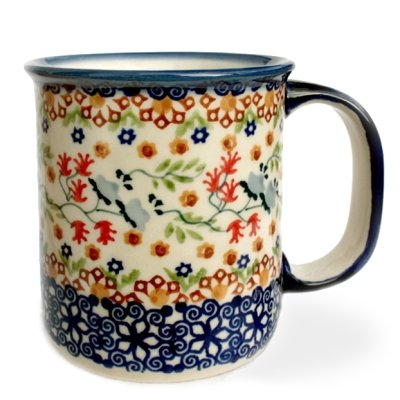 Polish Pottery straight mug for 220 ml, large handle, Florac design