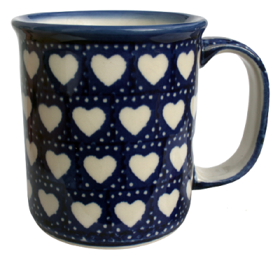 Polish Pottery Mug Straight Pattern White Hearts