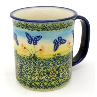 Polish Pottery, straight mug for 220 ml, large handle, Carmen design