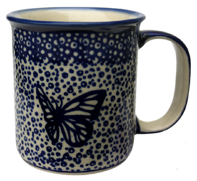 Polish Pottery Mug Straight Blue Flutterer Pattern