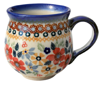 Polish Pottery belly mug small flower field design