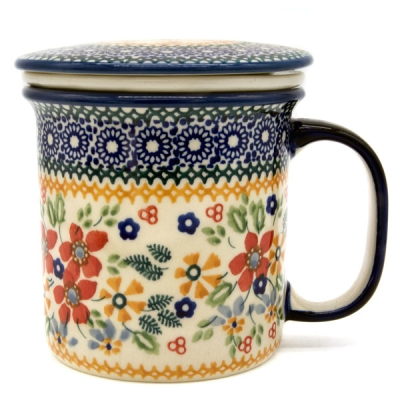 Polish Pottery Mug Straight (l) Pattern Cornelia