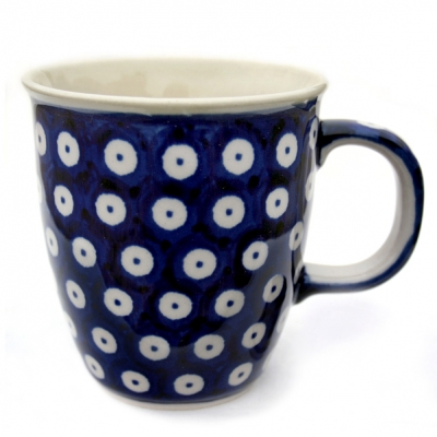 "Polish Pottery ""Mars"" Mug in Pattern Blue Spot"