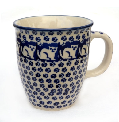 "Polish Pottery Mug ""Mars"" Pattern Cat"