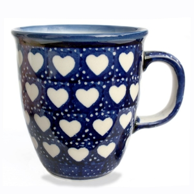 "Polish Pottery ""Mars"" Mug Pattern White Hearts"