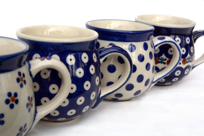 Polish Pottery set of 4 belly mugs in pattern polka, garland, bluespot and margerita