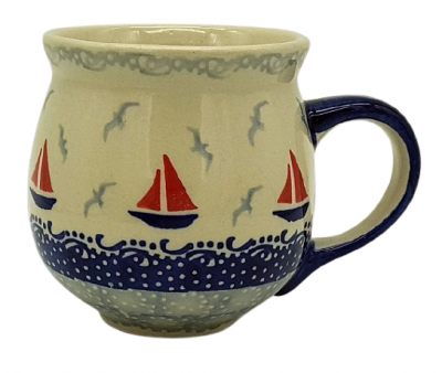 Polish Pottery Belly Mug (m) - Pattern Sail